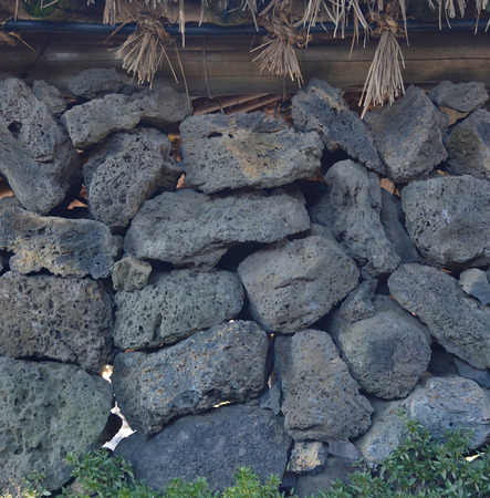tile volcanic stone texture and background,wall in jeju island at korea photo