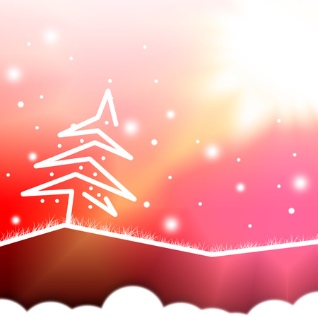 abstract christmas white tree,red background photo