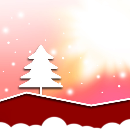 abstract christmas white tree,red tone color background photo