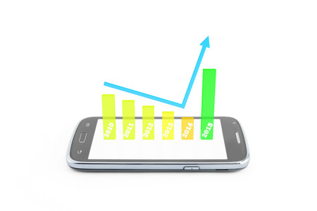 finance graphic 3d increase,become better 0n new year 2015,on the smartphone,white background photo