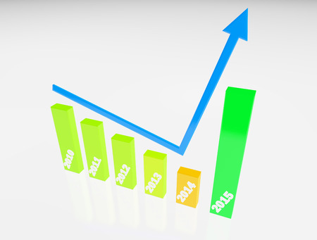 year increase: finance graphic 3d increase,become better on new year 2015,white color background