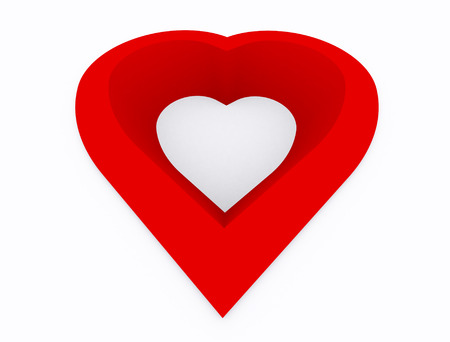 absract art: Heart abstract,hole of heart red color on white background,3d perspective Stock Photo