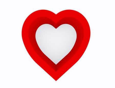 absract art: Heart abstract,hole of heart red color on white background,3d top view