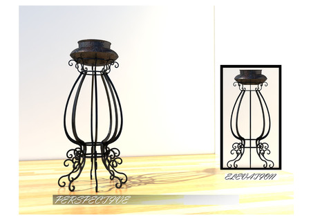 decorate: curved steel design for interior decorate,vintage or classic style,3d perspective