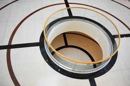interior architect design,main hall with void hole double floor,circle void hole photo