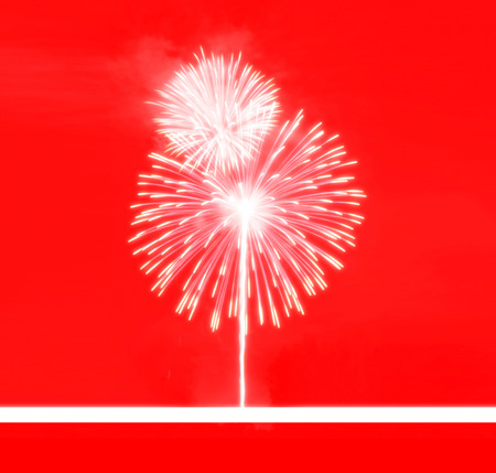 fire works: background abstract festival,firework red colortone,happy new year Stock Photo