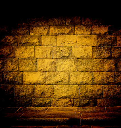dim light: background abstract,brick wall texture with dim light same nightmare Stock Photo