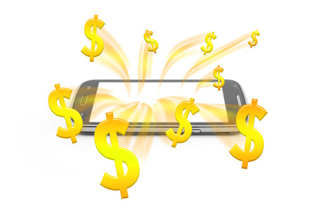 gold rush: money rush from smartphone mobile,gold money abstract