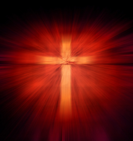 Christian religious cross with red light ray