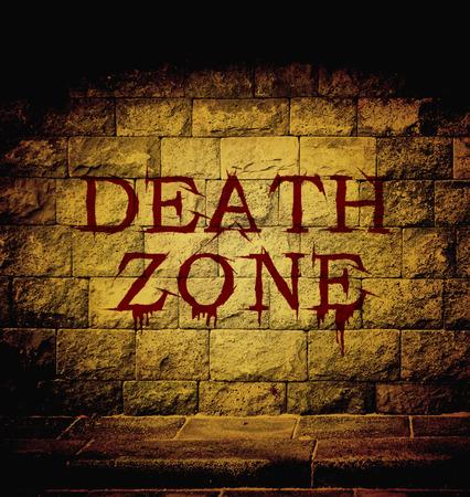死ゾーン血液本文でレンガの壁で薄暗い光