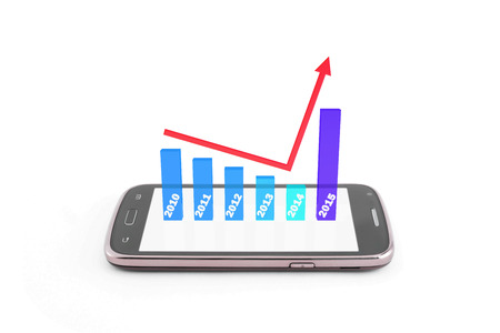 finance graphic 3d increase,become better 0n new year 2015,on the smartphone,white background,blue color tone photo