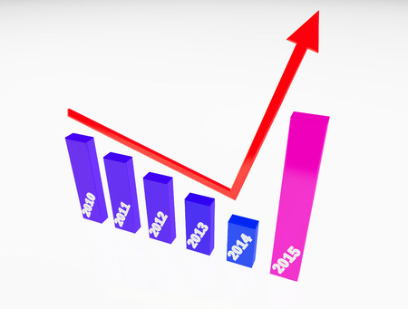 year increase: finance graphic 3d increase,become better on new year 2015,white color background,blue and purple color tone