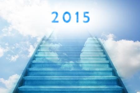 trap omhoog naar het nieuwe jaar 2015