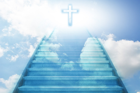 religious backgrounds: stairway going up to the christian cross Stock Photo