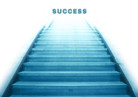 stairway: stairway going up to success text,isolate background Stock Photo