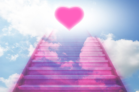 stairway: stairway going up to the heart Stock Photo