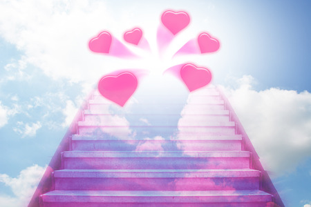 stairway: stairway going up to the hearts with blue sky background