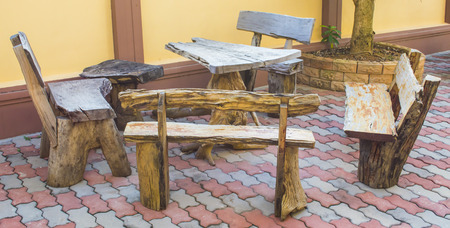 wood table bench on outdoor in morning photo