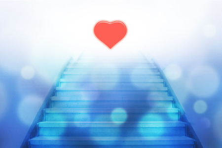 heart tone: stairway going up to the heart with bokeh light,blue color tone