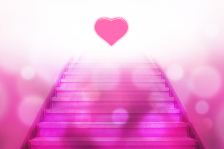 heart tone: stairway going up to the heart with bokeh light,pink color tone Stock Photo
