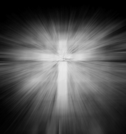 ray light: Christian religious cross with light ray,gray color tone Stock Photo