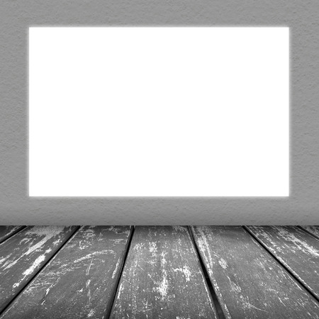 grey wall texture with square void light background and wood floor grey color photo