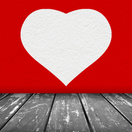 red wall texture with white heart background and wood floor grey color