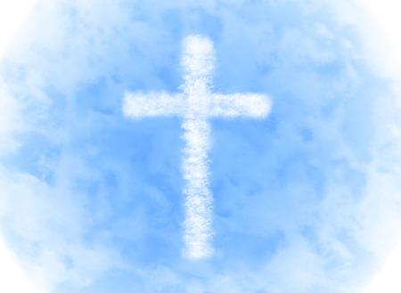 religion cross cloud shape on blue sky background