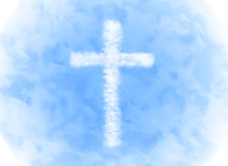 religion cross cloud shape on blue sky background