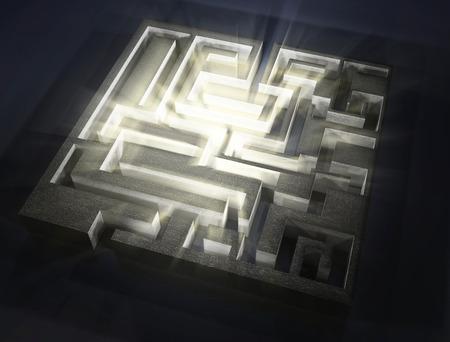 aura: maze with light aura inside,3d image