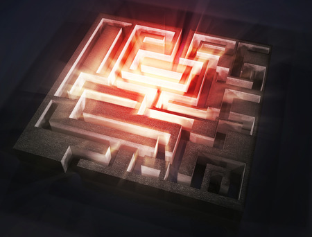 the aura: maze with red light aura inside,3d image Stock Photo