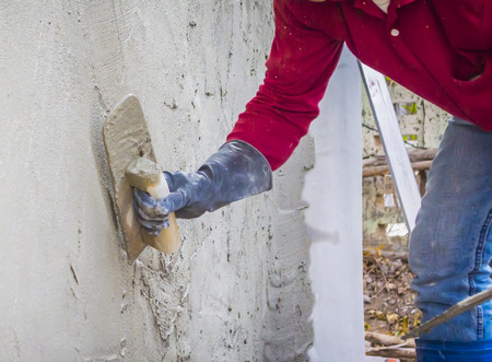 plastering mortar on the lower wall