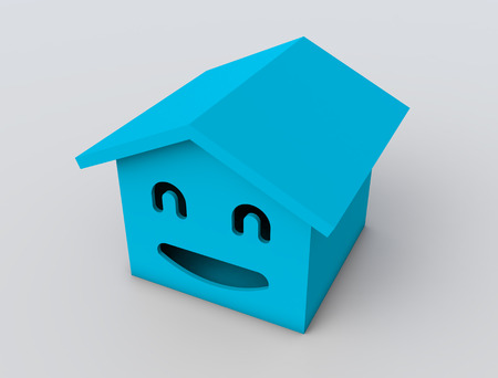 housing project: 3d smile house model blue color Stock Photo