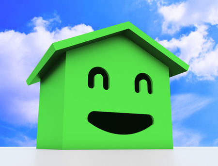 housing project: 3d smile house modelgreen color