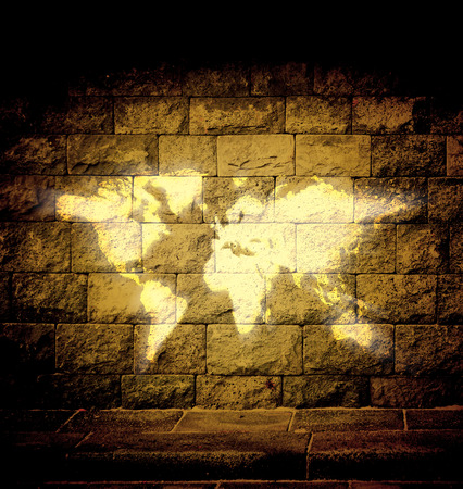 discouraged: world map bright light on the wall