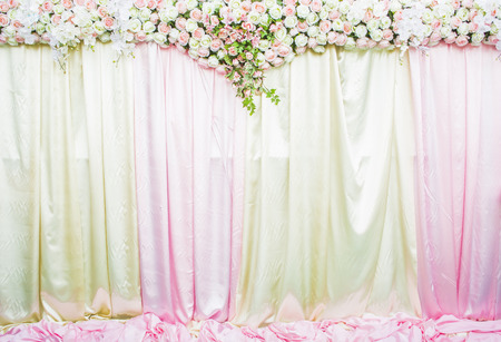 backdrop: wedding backdrop with Beautiful flower Stock Photo