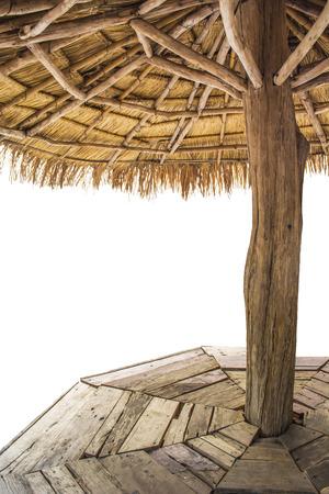 Toon het uitzicht vanuit de binnenkant van het paviljoen, geïsoleerde achtergrond