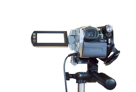Video camera's in de Conventie met lege projectiescherm op de achtergrond