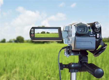 Videocamera's binnen het grasveld en onder in de opnamemodus Stockfoto