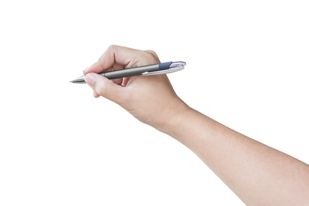 hand writing on the isolated background Stock Photo