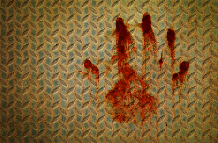 bloodstains: hand bloodstains on the matal wall Stock Photo