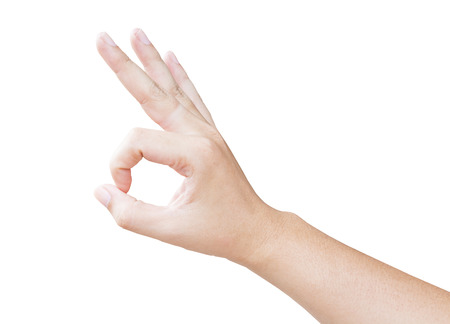 hand OK shape with isolated background Stock Photo