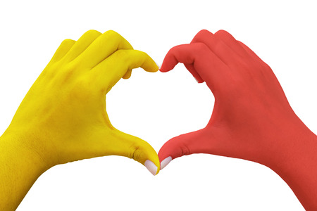 hands in the shape of heart with yellow and red colored,isolated background