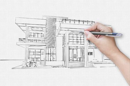 Architekten Hand Zeichnen Ein Haus Auf Dem Papier Standard Bild