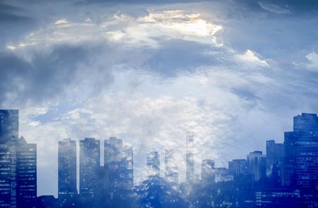dubbele belichting van de stad met de hemel achtergrond Stockfoto