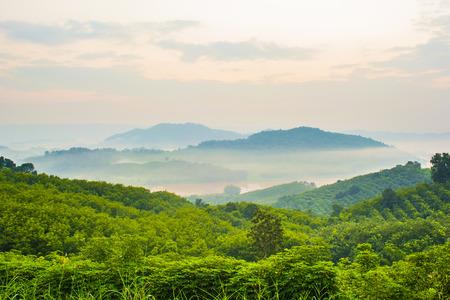 Berg overlapping en wat mist met hemelachtergrond