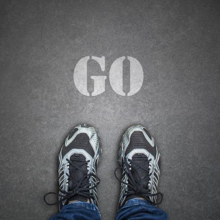 sta voet op de weg met go text