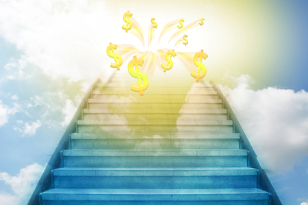 stairway: stairway going up to the money sky background