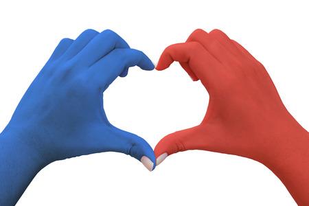 handen in de vorm van hart met blauwe en rode kleur Stockfoto