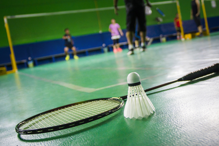badminton court with shuttlecock